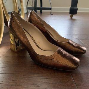 Zara copper metallic heels.  Great pop of color!